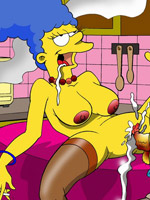 Marge simpson in a naughty threesome!