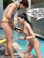 Perky tits brunette toon ladyboy taking off her outfit and sucking off her bf poolside.